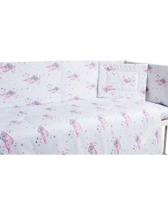 Lenjerie patut cu 5 piese Sleeping Bear Pink
