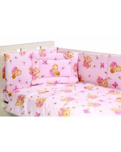 Lenjerie patut cu 5 piese Honey Bear Pink