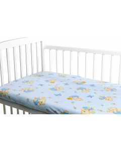 Cearceaf din bumbac cu elastic Honey Bear Blue 120x60 cm