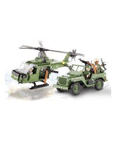 set de construit Cobi, Jeep Willys MB cu elicopter (250pcs)