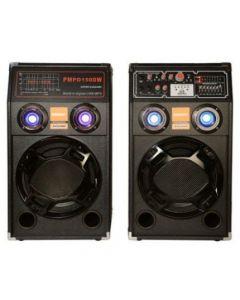 Boxe audio active , bluetooth, lumini colorate, carcasa lemn negru,