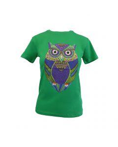 Tricou - Univers Fashion - verde - imprimeu bufnita multicolor - L