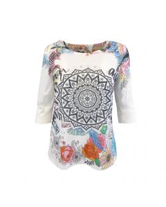 Bluza Univers Fashion - alba cu imprimeu etnic  multicolor - maneca trei sferturi - M-L