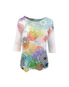Bluza Univers Fashion - alba cu imprimeu multicolor flori - maneca trei sferturi - M-L