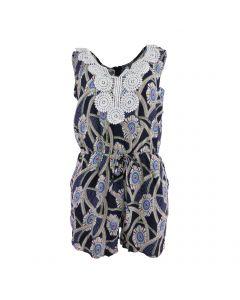 Salopeta scurta, Univers Fashion, cu 2 buzunare, culoare albastru cu imprimeu multicolor flori si elastic la talie - S-M