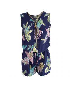 Salopeta scurta, Univers Fashion, cu 2 buzunare si fermoar in fata - albastru cu imprimeu multicolor frunze, elastic la talie - M-L
