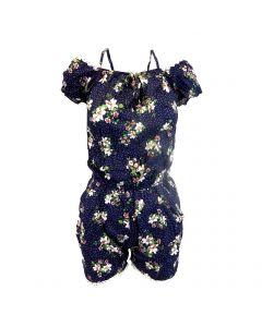Salopeta scurta, Univers Fashion, cu 2 buzunare, culoare albastru cu imprimeu floral multicolor si buline albe, elastic la talie - L-XL