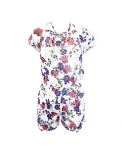 Salopeta scurta, Univers Fashion, cu 2 buzunare, culoare alb cu imprimeu cu flori multicolore, elastic la talie - L-XL