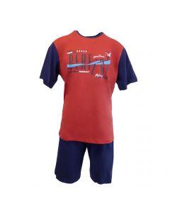 "Pijama barbat, Univers Fashion - bluza grena cu imprimeu ""Sometimes PERFECT"" - pantaloni scurti albastru uni - XL"