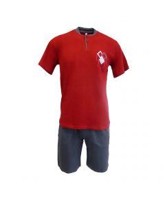 Pijama barbat, Univers Fashion - bluza rosie cu imprimeu - pantaloni scurti gri uni cu 2 buzunare - M