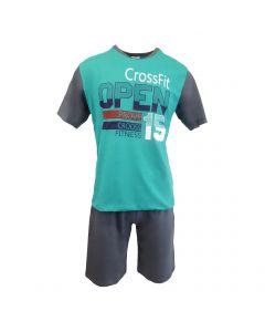 "Pijama barbat, Univers Fashion - bluza verde cu imprimeu ""OPEN"" - pantaloni scurti gri uni - S"