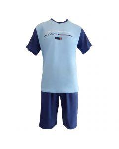 "Pijama barbat, Univers Fashion - bluza albastru deschis cu imprimeu ""power speed strength flexibility"" - pantaloni scurti albastru uni - L"