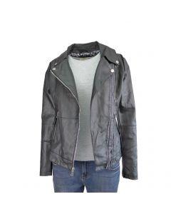 Jacheta dama Itenly Fashion - culoare neagra cu 2 fermoare in fata - piele ecologica - XS