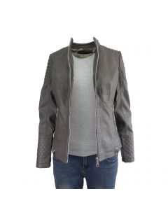 Jacheta dama Itenly Fashion - culoare grI - piele ecologica - XS