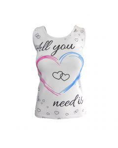 "Maiou dama Univers Fashion - alb cu imprimeu ""All you need is"" - S-M"