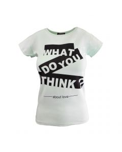 """Tricou - My Serenad - verde, imprimeu """"What do you think about love"""" - S-M"""