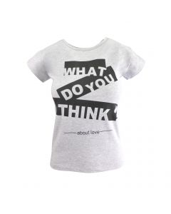 """Tricou - My Serenad - gri, imprimeu """"What do you think about love"""" - S-M"""