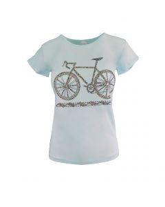 Tricou - MSK Moda - albastru, imprimeu cu bicicleta - S-M