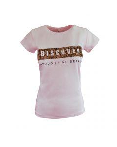 """Tricou - MSK Moda - roz, imprimeu """"Discover through fine details"""" - S-M"""
