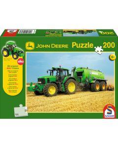 Puzzle Schmidt pentru copii 200 piese John Deere: Tractor 7530 cu și cisternă pt. gunoi