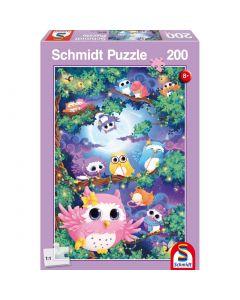 Puzzle Schmidt pentru copii 200 piese: În pădurea bufnițelor