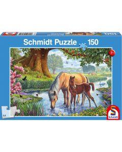 Puzzle Schmidt pentru copii 150 piese: Cai la adăpat