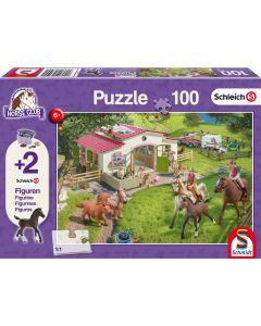 Puzzle Schmidt pentru copii 100 piese Schleich : Calarit la tara