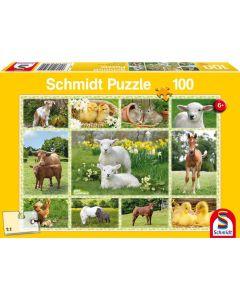 Puzzle Schmidt pentru copii 100 piese: Puii animalelor domestice