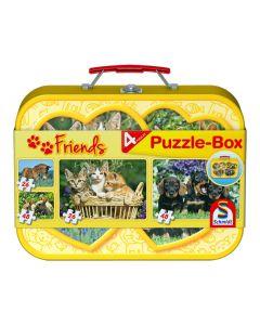 Set de 4 puzzleuri Schmidt pentru copii 2×26, 2×48 piese: Animale domestice