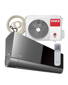 Aer conditionat Vivax ACP-18CH50AEVI BLACK MIRROR V-Design Wi-Fi Ready, Kit de instalare inclus, Inverter, 18000 BTU/h, Clasa A++, Ionizator, I feel, 3D Airflow, Protectie Anti-Inghet, Autodiagnoza, Autocuratare, Autodetectie scurgeri freon