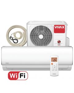 Aer conditionat Vivax ACP-09CH25AEMI M-Design Wi-Fi, Kit de instalare inclus, Inverter, 9000 BTU/h, Clasa A++, ecran LCD, Pornire silentioasa, Sleep mode, Turbo mode, Timer, Protectie Anti-Inghet, Autocuratare, ECO-Mode