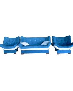 Set canapea 3 loc extensibila si 2 fotolii, Zara, albastru
