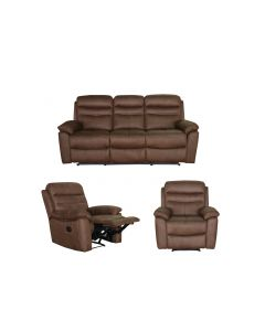 Set Canapea 3 locuri cu 2 reclinere manuale si 2 fotolii cu reclinere manuale, Mobila Domnel, Md.9939, stofa370 Elefant skyn(piele de elefant)