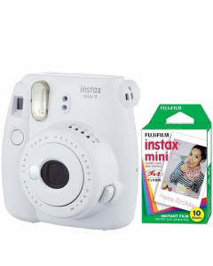 Pachet Camera foto instant Fujifilm Instax mini 9, Alb, cu 10 filme incluse