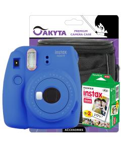 Pachet Camera foto instant Fujifilm Instax mini 9, Cobalt Blue cu film 2x10 si husa Akyta