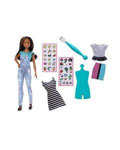 Papusa Barbie Bruneta - Emoji Designer, creeaza designul unor noi seturi de hainute