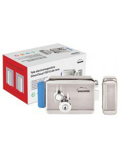 Yala electromagnetica SilverCloud YE910 din inox cu butuc dublu si buton,Fail Secure NO