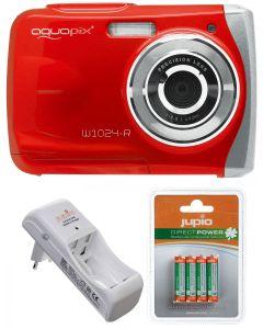 Camera Foto Subacvatica EasyPix W1024 Rosu + BONUS: 16GB mSD, Husa si Set INcarcator si Acumulatori Jupio AAA 850 mAh