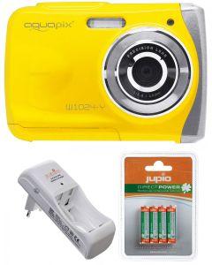 Camera Foto Subacvatica EasyPix W1024 Galben + BONUS: 16GB mSD, Husa si Set INcarcator si Acumulatori Jupio AAA 850 mAh