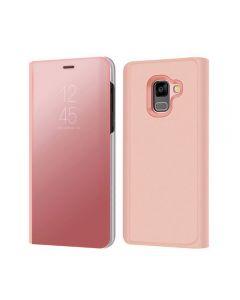 Husa Flip Stand Mirror,Clear View Light, Samsung Galaxy A8 2018, Rose-Gold