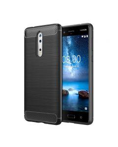 Husa de telefon Carbon Premium Protect, Nokia 8, 6 nivele de protectie, Finisaj metalic, Slim, Black