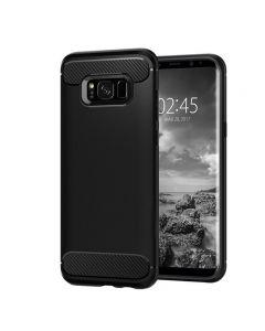 Husa de telefon Carbon Premium Protect, Samsung Galaxy S8 Plus, 6 nivele de protectie, Finisaj metalic, Slim, Black