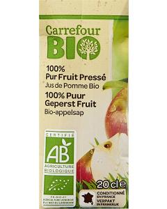 Suc bio de mere 100% 0.2l Carrefour Bio