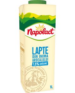 Lapte de vaca semidegresat Napolact 1.5% grasime 1L