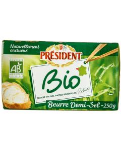 Unt bio semisarat 80% grasime President 250g
