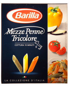 Paste alimentare Barilla Mezze Penne Tricolore 500g