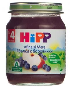 Piure din afine si mere pentru bebelusi 4 luni+ Hipp 125g