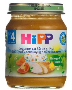 Piure cu legume, orez si pui 4 luni+ Hipp 125g