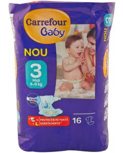 Scutece de unica folosinta Carrefour Baby Midi, 16 bucati, 4-9 kg