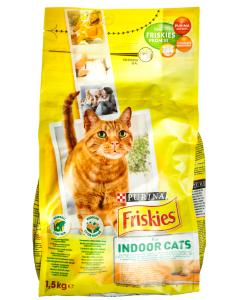 Hrana uscata pui verdeturi pt pisici Purina Friskies Indoor 1.5kg